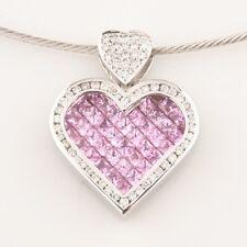 14k Oro Blanco Diamante & Zafiro Rosa Colgante corazón con / Alambre Cadena