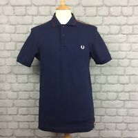 FRED PERRY MENS UK M SLIM FIT TWIN TIPPED NAVY BLUE POLO SHIRT SHORT SLEEVES