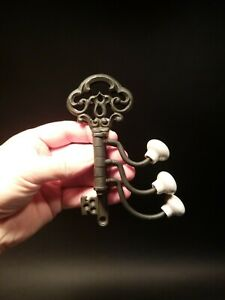 Antique Vintage Style Cast Iron Key Swivel Hook W Porcelain Knobs