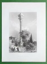 CONSTANTINOPLE Column of Marcian Turkey  - BARTLETT Antique Print