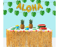 Brown Hawaiian grass table Skirt luau Beach party Decor Tropical Leafs SET