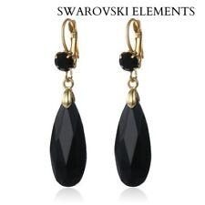 Boucle d'oreilles goutte d'eau facettes Swarovski® Element NOIRE  alliage