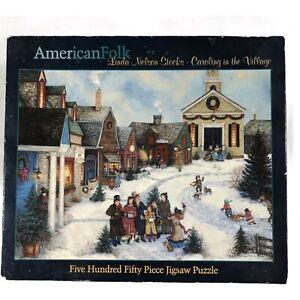 American Folk Christmas Carol Holiday Linda Nelson Stocks 550 Pcs Puzzle Jigsaw