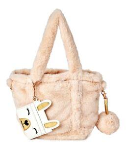 No Boundaries 3 Piece Plush Bag & Wallet Set Ivory Llama NEW