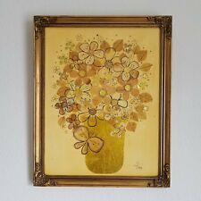 Vintage 60-70's Eileen Garson Floral Collage on Wood in Wood Frame Made in Italy