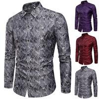 Formal T-Shirt Long Sleeve Men's Casual Fit Dress Stylish Luxury Shirt Tops Slim