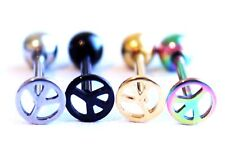 Peace Symbol Logo Sign Hippy Fancy Design 316L Surgical Steel Tongue Bar Barbell