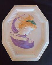 Vintage bas-relief plâtre «femme éventée» sculpture style art-déco patine pastel
