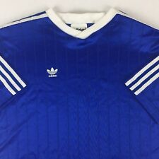 Vintage Adidas Trefoil Stripes Spellout Soccer Athletic Jersey Shirt Large Blue