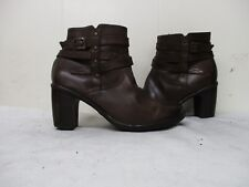 Clarks Brown Leather Zip High Heel Ankle Boots Womens Size 6 M