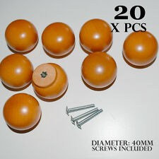20 x DOOR KNOBS ORANGE WOODEN ROUND BALL HANDLES KITCHEN DRAWERS CABINETS 40MM