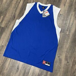 VTG Nike Jordan Jumpman Mens Jersey Top Blue Ball Sleeveless White Trim New Sz L