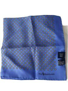 Polo By Ralph Lauren Unisex Scarf light Blue flower Hand Made 100% Silk OS New