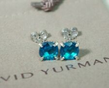 David Yurman 925 Silver14k Gold 9mm Blue Topaz Diamond Chatelaine Earrings Pouch