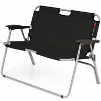 2 Person Camping Folding Chair Portable Outdoor Bench Patio Loveseat Black