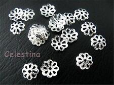 300 Silver Plated Bead Caps Jewellery Findings Filigree Daisy 7mm Bead Cones BC5