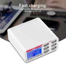 LED 6-Port USB Digital Display Ladegerät Multi Netzteil Ladestation