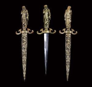 A RARE antique FRENCH MEMENTO MORI DAGGER MOURNER TOMB JEAN DUC THE BERRY 19TH C