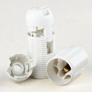 Kunststoff Clip Iso Fassung E14, 2tlg, Gewindemantel, weiß mit Kappe