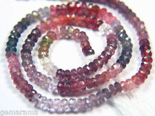 """7"""" Natural Multi Color Spinel Faceted Rondelle Gem Beads - Red Peach Pink 3.5mm"""