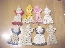 Lot Of 8 Handmade Crocheted Christmas Tree Angels Assorted Colors