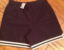 NWT Womens 10 Dress Laura Ashley Shorts Navy Flat Front Side Zip Full Rise Twill