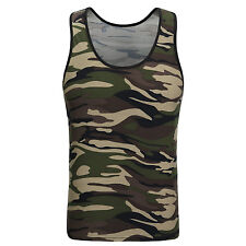 Men Green Army Camo Camouflage Muscle Gym Bodybuilding T-shirt Tank Top Vest 2XL