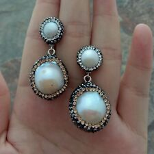 natural White Keshi Pearl CZ Pave stud Earrings