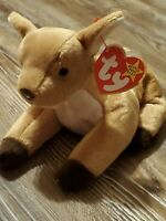 """Ty Beanie Baby """"Whisper"""" the Fawn Retired 1997 With Tag Error. Mint Condition!"""