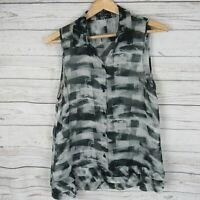 Theory Medium Top Womens Black White Semi Sheer 100% Silk Shirt Blouse