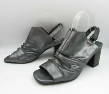 Taking Shape Sz 41 Pewter Metallic Leather Open Toe Slingback Eloise Shoes Heels