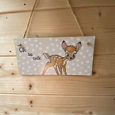 Bambi Handmade wooden hanging Door Plaque Decoupaged Nursery Decor