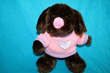 "Dan Dee DOG 8"" Dark Brown Plush Pink Sweater Nose Lavender Heart 2010 Stuffed"
