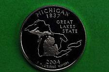 2004-S Deep Cameo SILVER GEM Proof(Michigan) Statehood US Quarter( 90% SILVER