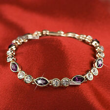 18k rose gold gp made with SWAROVSKI crystal tennis purple chain bracelet