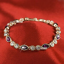 18k rose gold gp made with SWAROVSKI crystal wedding bride purple chain bracelet