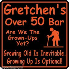 Personalized Over The Hill Birthday Sign New Custom Name Beer Bar  Funny Gift