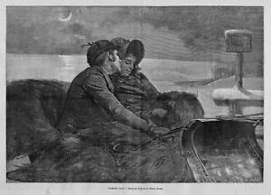 SLEIGH RIDE YOUNG COUPLE LOVERS ROMANCE UNDER THE MOONLIGHT KISS ON CHEEK