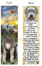 Irish Wolfhound Bookmark Dog Rules Property Law Book Mark Card Ornament Figurine