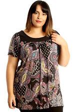 New Womens Plus Size Top Ladies Paisley Print Smock Tunic Blouse Round Neck