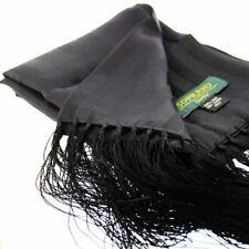 David Van Hagen Mens Plain Silk Evening Scarf - Black