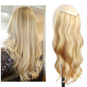 Women Halo Hair Extensions Fish Line Real Human Hair Invisible Hidden Wire 100 G