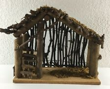 "Nativity Scene Stable Manger Creche Empty Christmas Wood Barn 11""l X 9""h X 5""d"