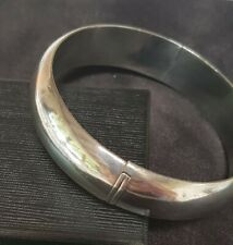 Vintage Classic 60mm Hinged Sterling Silver Golf Slave Bangle 22 Grams 15mm Wide