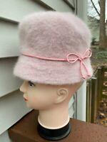 Vintage Women's 1970s Pink Angor Fuzzy Wool Bucket Knit Cloche Hat Winter Mod
