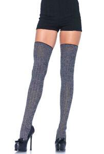 Leg Avenue grey rib knit thigh highs