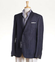 NWT $895 Z ZEGNA Blue Wool-Linen Sport Coat Extra Slim 'Drop-8' 44 R (fits 42)