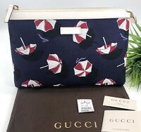 Gucci Authentic Umbrella Print Zipper Pouch Clutch Bag Blue Red Canvas NWT $325