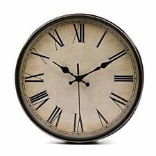 11 Inch Wall Clock | Quality Quartz Retro Design with Roman Numerals | Brown