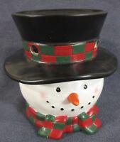 Yankee Candle Tarts Wax Melt Warmer Snowman Head Figural Top Hat Christmas